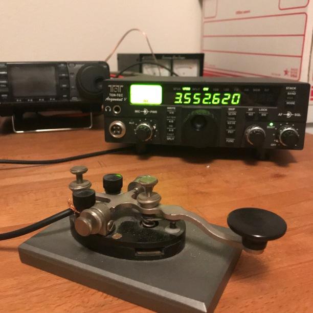 TenTec Argonaut V, Antenna tuner, Hammarlund HQ-170 receiver, speaker from a Hammarlund PRO310, and favorite key