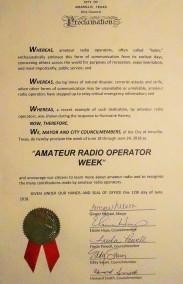 Amateur Radio Operator Week Proclamation